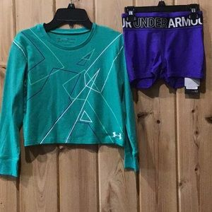 UA crop top and shorts